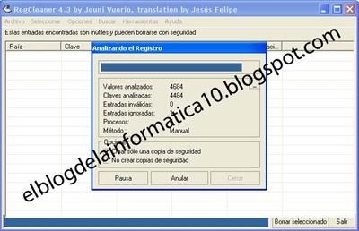 Limpieza del registro con RegCleaner