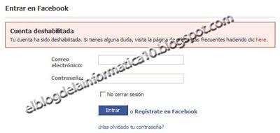 Cuenta deshabilitada en Facebook