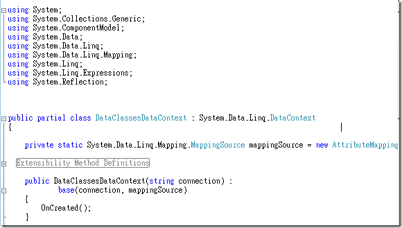 新增項目 Linq to Sql類別 複製DataContext