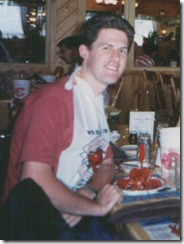 David eating Lobster in Prince Edward Island