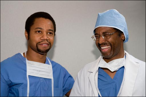 Left To Right Actor Cuba Gooding Jr With Dr Ben Carson Top Screenshots From Gifted Hands The Story Movie Bottom