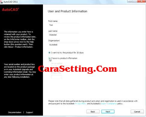 Install AutoCad Product