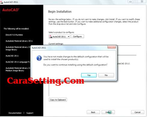 autocad installation step
