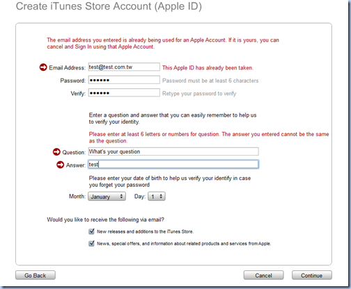 iTunes Store clear error message