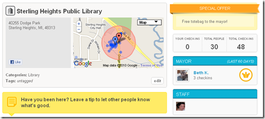 Foursquare Special - Sterling Heights Library