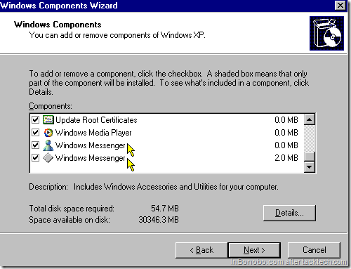 Windows Components - Windows Messenger