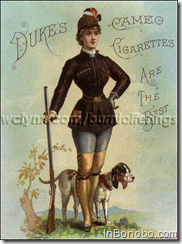 1880's cigarette advertising targeted male smokers. Ads that pictured nudes or were truly risqué, were seldom issued. Cards featuring pretty girls, however, were common. Sporting hourglass figures, these young women tantalized the mostly rural American male with provocative clothing, sometimes sensual poses, and their much admired corseted shape. Victorian femininity and beauty was defined as a 17 to 21 inch waist, the perfect size to fit comfortably between a man's two hands. W. Duke, Sons and Company produced two late 1880's Sporting Girls cigarette premium albums that pictured a dozen charming outdoor ladies ready for any upland game. (jbo)