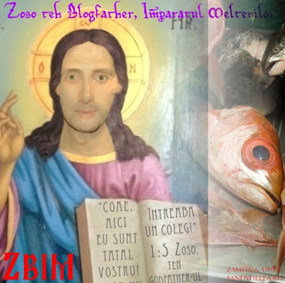 Zoso aka Vali Petcu icon with a so-called bible in his hand with 'coae, aici eu sunt tatal vostru! nu stii - intreaba un coleg!' 1:5 Zoso, the Godfather-ul Blogo.ro-oaiei