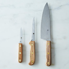 Reclaimed Pecan Carbon Steel Knives