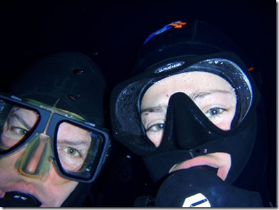 Token self portrait, Paul and Jessica, possibly (hopefully not!) their last dive ever under the ice . . .