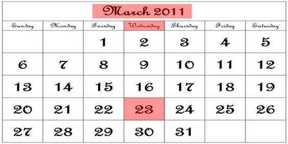 23 March 2011 Calendar Black and White