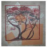 « Bosquet n°2» gravure/bois sur papier Himalaya et journaux japonais 45×45cm non encadré 160€ encadré 180€