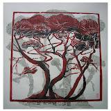 « Bosquet n°3» gravure/bois sur papier Himalaya et journaux japonais 45×45cm non encadré 160€ encadré 180€