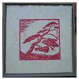 « Anémomorphose » gravure/bois sur papier Himalaya 30×30cm encadré 100€