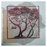 « Bosquet n°1» gravure/bois sur papier Himalaya et journaux japonais 45×45cm non encadré 160€ encadré 180€
