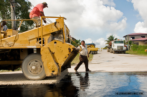Paving streets in Orange Walk Town, Belize.