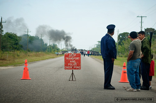 Northern Highway: Cane farmers protest in Orange Walk, Belize.