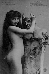 La ninfa y el sátiro: postal francesa, circa 1900
