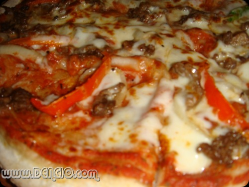 Steak bits, Tomato Sauce, and Mozzarella.