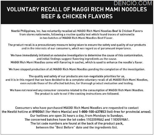 Maggi Noodles Recall