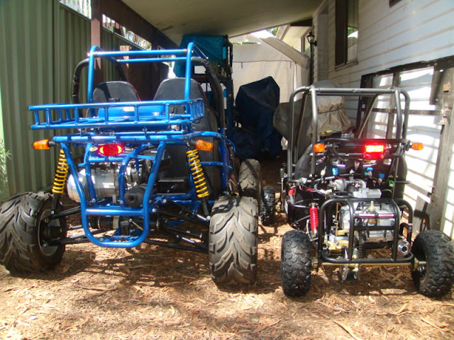 Baja 150cc Buggy next to 110cc Kids Buggy