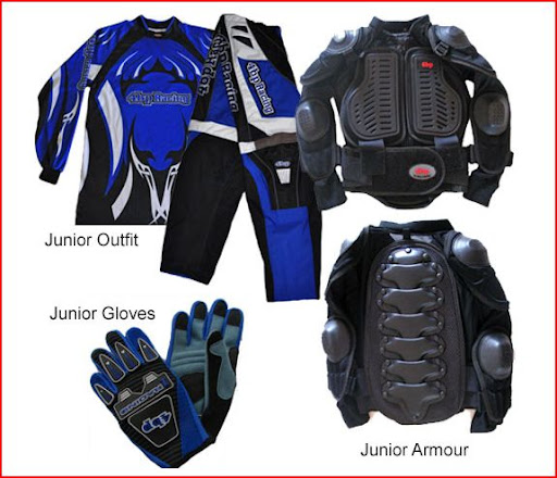 Junior Motocross Riding Gear Body Armour Gloves and Accessories Pack