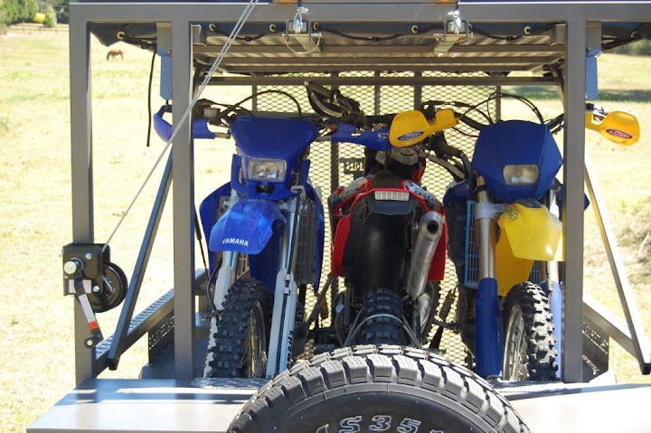 Motorbike Camper Trailer with Kitchen, Tent and 3 Dirt Bikes