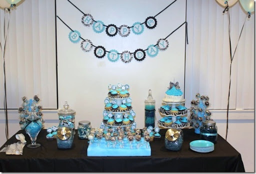 Blue Zebra Birthday Party Theme Image Inspiration of Cake and