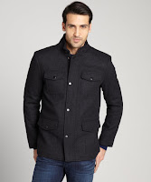 Kenneth Cole Reaction charcoal 4 pocket wool jacket
