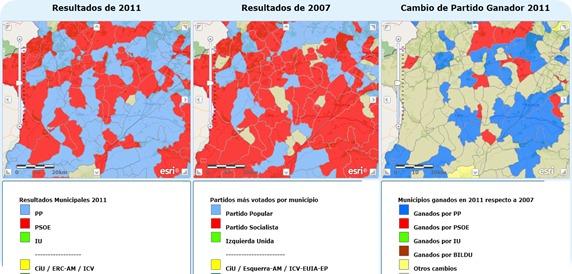 evolucion voto zona sierra de gata elecciones 2011