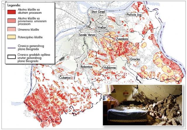 Mapa klizišta u Beogradu