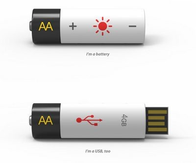 Rechargeable Battery and USB flash drive in one