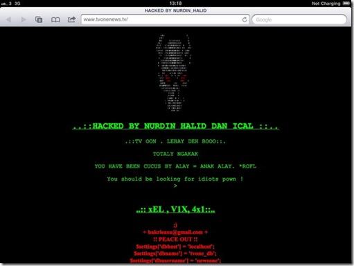 Tampilan situs TV One Hacked by Nurdin Halid dan Ical