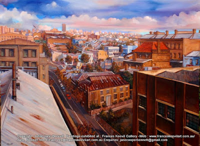 plein air oil painting of Pyrmont from the roof of the Pyrmont Power Station by industrial heritage artist Jane Bennett