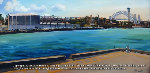 oil painting of White Bay and the Sydney Harbour Bridge from Glebe Island wharf by artist Jane Bennett