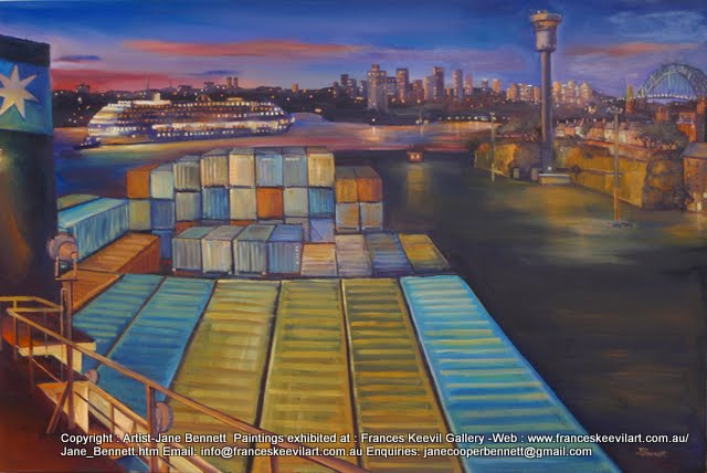 plein air oil painting of 'Maersk Gateshead' at temporary cruise ship facility Barangaroo by Artist Jane Bennett