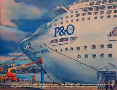 plein air oil painting of cruise ship 'Pacific Jewel' at temporary cruise ship terminal at Barangaroo by marine artist Jane Bennett