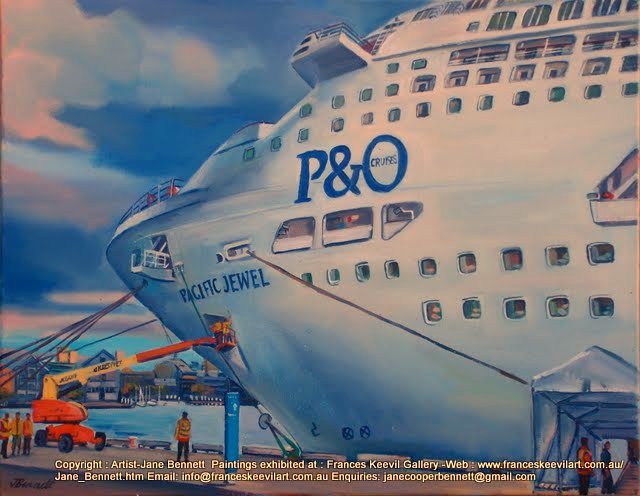 plein air oil painting of 'Pacific Jewel ' at temporary cruise ship facility Barangaroo by Artist Jane Bennett