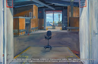 plein air oil painting of now demolished cruise ship terminal Wharf 8 at Barangaroo by industrial heritage and marine artist Jane Bennett
