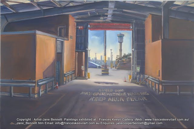 plein air oil painting of  demolished cruise ship terminal Wharf 8 at  Barangaroo by Artist Jane Bennett