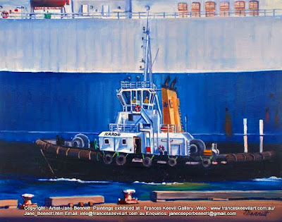 plein air oil painting of tug sailing on Sydney Harbour by maritime artist Jane Bennett