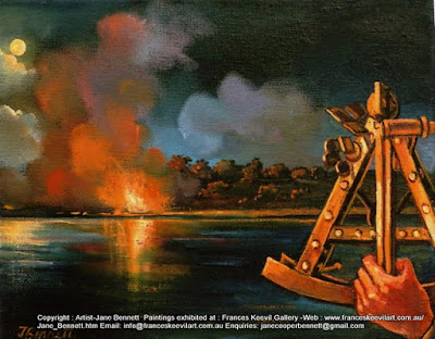 oil painting of sextant  by heritage artist Jane Bennett