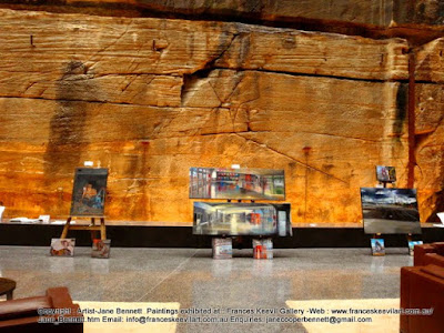 plein air oil paintings of East Darling Harbour Wharves and Barangaroo exhibited at the Sydney Open in the Bond building by industrial heritage artist Jane Bennett