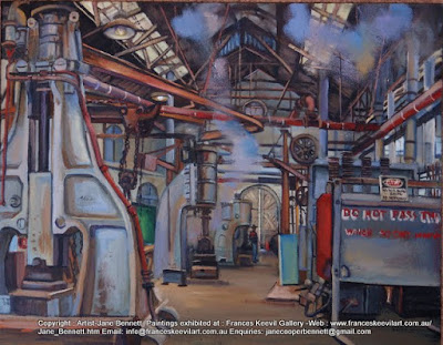 oil painting of Blacksmiths forge 'Wrought Artworks' Eveleigh Railway Workshops by industrial heritage artist Jane Bennett