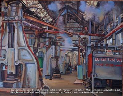 oil painting of Blacksmiths forge 'Wrought Artworks' Eveleigh Railway Workshops by industrial heritage artist Jane Bennett