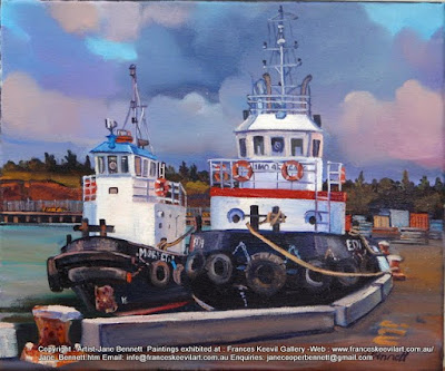 tug ''Edi' and 'Morpeth' at White Bay Wharf  oil painting by artist Jane Bennett
