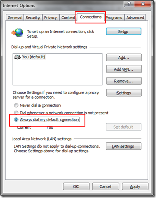 Connect Internet Automatically On Windows 7/Vista/XP Start Up