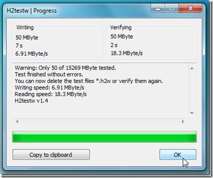 Check USB/SD Card for Read/Write Errors : H2testw