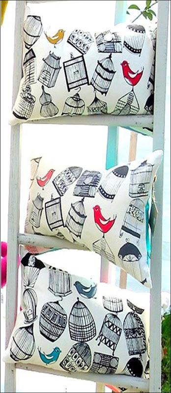 Birdie cushion, screen printed on cotton