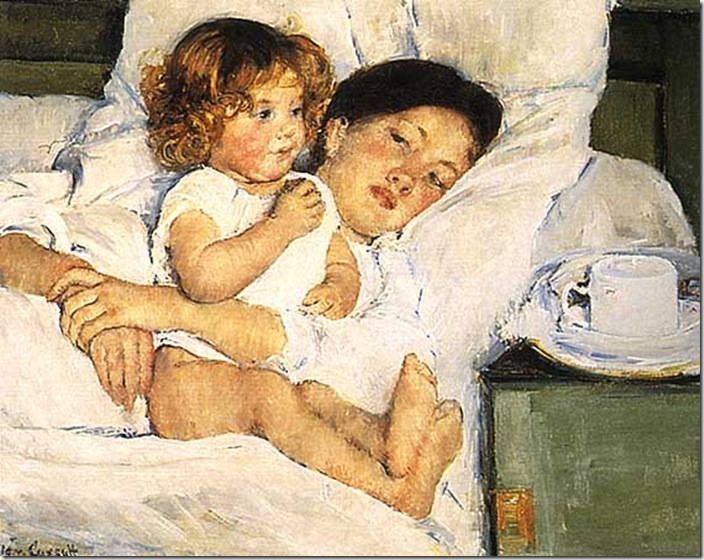 Mary Cassatt Mother and Baby in bed